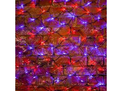 """Гирлянда """"Сеть"""" 2х0,7м, черный ПВХ, 176 LED Красные/Синие"""