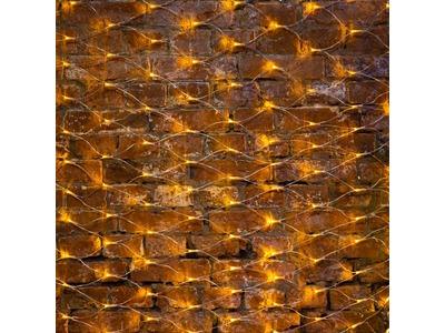"""Гирлянда """"Сеть"""" 2х1,5м, свечение с динамикой, прозрачный ПВХ, 288 LED, 230 В, цвет: Жёлтый"""