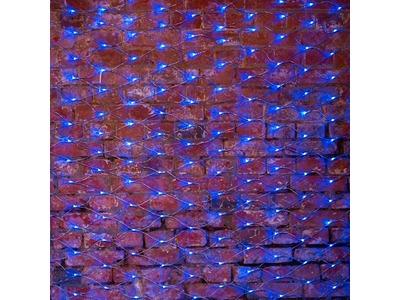 """Гирлянда """"Сеть"""" 2х1,5м, свечение с динамикой, прозрачный ПВХ, 288 LED, 230 В, цвет: Синий"""
