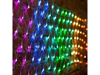 "Гирлянда ""Сеть"" 3х0,5м, прозрачный ПВХ, 140 LED Мультиколор (10 цветов)"