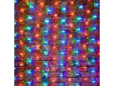 """Гирлянда """"Сеть"""" 2x1,5м, черный КАУЧУК, 288 LED Мультиколор"""