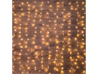 """Гирлянда """"Светодиодный Дождь"""" 1,5х1м, свечение с динамикой, прозрачный провод, 230 В, диоды ТЕПЛЫЙ БЕЛЫЙ"""