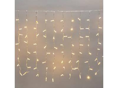 """Гирлянда """"Светодиодный Дождь"""" 2x0,8м, прозрачный провод, 230 В, диоды ТЕПЛЫЙ БЕЛЫЙ, 160 LED"""