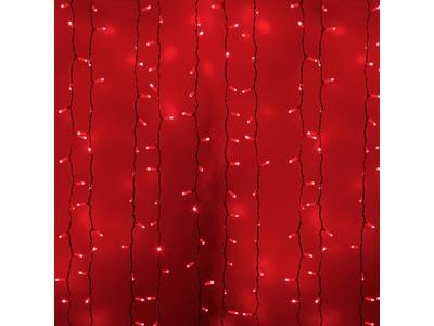 """Гирлянда """"Светодиодный Дождь"""" 2х1,5м, постоянное свечение, белый провод, 230 В, диоды КРАСНЫЕ, 360 LED"""