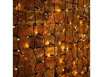 """Гирлянда """"Светодиодный Дождь"""" 2х1,5м, постоянное свечение, черный провод, 230 В, диоды ЖЁЛТЫЕ, 360 LED"""
