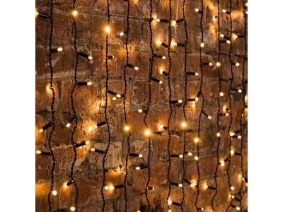 """Гирлянда """"Светодиодный Дождь"""" 2х1,5м, постоянное свечение, черный провод, 230 В, диоды ТЕПЛЫЙ БЕЛЫЙ, 360 LED"""