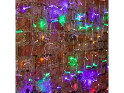 """Гирлянда """"Светодиодный Дождь"""" 2х1,5м, постоянное свечение, прозрачный провод, 230 В, диоды МУЛЬТИ, 192 LED"""