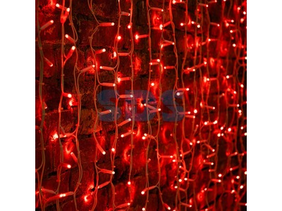 """Гирлянда """"Светодиодный Дождь"""" 2х1,5м, постоянное свечение, белый провод """"КАУЧУК"""", 230 В, диоды КРАСНЫЕ, 360 LED"""