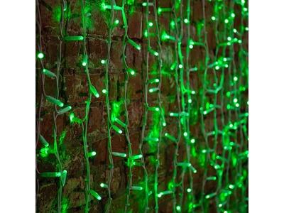 """Гирлянда """"Светодиодный Дождь"""" 2х1,5м, постоянное свечение, белый провод """"КАУЧУК"""", 230 В, диоды ЗЕЛЕНЫЕ, 360 LED"""