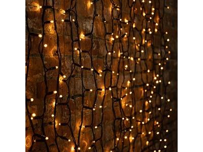 """Гирлянда """"Светодиодный Дождь"""" 2х1,5м, постоянное свечение, черный провод """"КАУЧУК"""", 230 В, диоды ЖЁЛТЫЕ, 360 LED"""