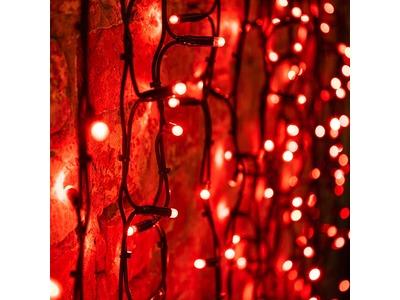 """Гирлянда """"Светодиодный Дождь"""" 2х1,5м, постоянное свечение, черный провод """"КАУЧУК"""", 230 В, диоды КРАСНЫЕ, 360 LED"""