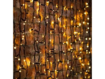 """Гирлянда """"Светодиодный Дождь"""" 2х1,5м, постоянное свечение, черный провод """"КАУЧУК"""", 230 В, диоды ТЕПЛЫЙ БЕЛЫЙ, 360 LED"""