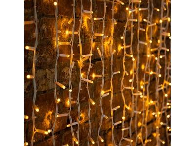 """Гирлянда """"Светодиодный Дождь"""" 2х3м, постоянное свечение, белый провод """"КАУЧУК"""", 230 В, диоды ЖЁЛТЫЕ, 760 LED"""