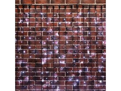 """Гирлянда """"Светодиодный Дождь"""" 2х6м, постоянное свечение, черный провод """"КАУЧУК"""", 230 В, диоды БЕЛЫЕ, 1500 LED"""