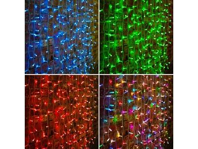 """Гирлянда """"Светодиодный Дождь"""" 2х3м, прозрачный провод, 230 В, диоды RGB, 600 LED свечение с динамикой при приобитении контроллера 245-907"""