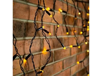 Гирлянда Айсикл (бахрома) светодиодный, 2,4 х 0,6 м, черный провод, 230 В, диоды жёлтые, 88 LED NEON-NIGHT