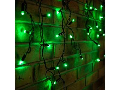 Гирлянда Айсикл (бахрома) светодиодный, 2,4 х 0,6 м, черный провод, 230 В, диоды зелёные, 88 LED NEON-NIGHT
