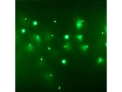 Гирлянда Айсикл (бахрома) светодиодный, 4,8 х 0,6 м, прозрачный провод, 230 В, диоды зеленые, 176 LED NEON-NIGHT