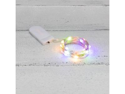 Гирлянда «Роса» с крупными каплями 2 м, 20 LED, цвет свечения мультиколор, 2хCR2032 в комплекте, тонкий батарейный блок NEON-NIGHT