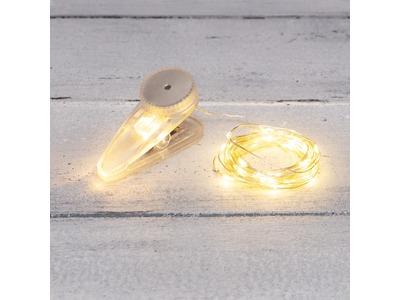 Гирлянда «Роса» с прищепкой 3 м, 30 LED, теплое белое свечение, 2хCR2032 в комплекте NEON-NIGHT
