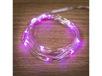 """Гирлянда """"Роса"""", 2 м, 20 диодов, цвет розовый, тонкий батарейный блок"""