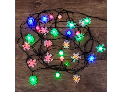 Гирлянда светодиодная универсальная с насадками (шарики, снежинки, елочки) 30 LED МУЛЬТИКОЛОР, 4,4 метра с контроллером