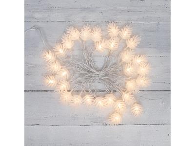 Гирлянда светодиодная «Шишки» 5 м, 30 LED, прозрачный ПВХ с контроллером, цвет свечения теплый белый NEON-NIGHT