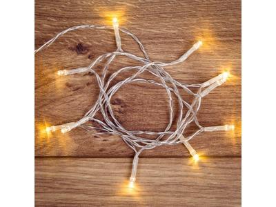 Гирлянда светодиодная универсальная 10 LED, 1,2 метра, прозрачный ПВХ, теплое белое свечение, батарейки 2хАА NEON-NIGHT