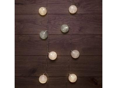 Тайские фонарики «Вельвет» 3,5 м, прозрачный ПВХ, 20 LED, теплый белый, питание 2 х АА (батарейки не в комплекте)