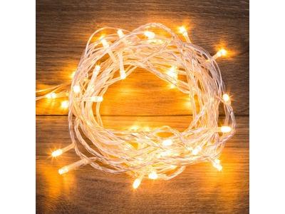 """Гирлянда """"Твинкл Лайт"""" 6 м, прозрачный ПВХ, 40 LED, цвет ТЕПЛЫЙ БЕЛЫЙ"""
