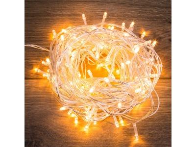 """Гирлянда """"Твинкл Лайт"""" 10 м, прозрачный ПВХ, 80 LED, цвет ТЕПЛЫЙ БЕЛЫЙ"""