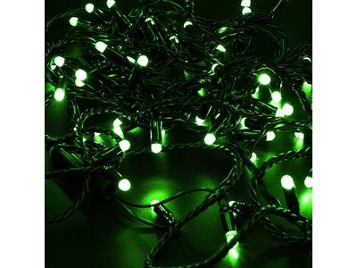 Гирлянда Нить 10м, постоянное свечение, черный ПВХ, 230В, цвет: Зелёный