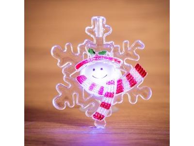 """""""Снеговик на снежинке"""" RGB на присоске"""