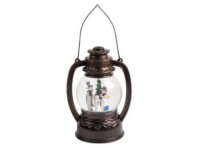 """Декоративный фонарь с эффектом снегопада и подсветкой """"Снеговики"""", Белый"""