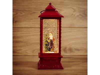 """Декоративный фонарь с эффектом снегопада и подсветкой """"Дед Мороз"""", ТЕПЛЫЙ БЕЛЫЙ"""