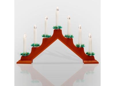 Новогодняя горка 7 свечек, цвет корпуса: Красный, цвет свечения: ТЕПЛЫЙ БЕЛЫЙ