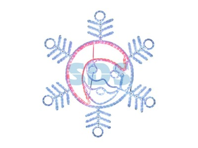 "Фигура ""Снежинка с Дедом Морозом"" размер 107*95см, 14м дюралайт NEON-NIGHT"