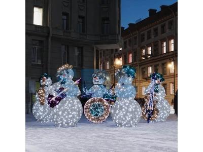 Декоративная 3D фигура Снеговик с контрабасом и нотами 237 см (цвет на выбор)