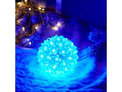 Шар светодиодный 230V, диаметр 12 см, 50 светодиодов, цвет синий