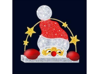 Декоративная 2D фигура Санта выглядывающий 195 см (цвет на выбор)