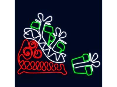 Декоративная 2D фигура Сани с подарками 140 см (цвет на выбор)
