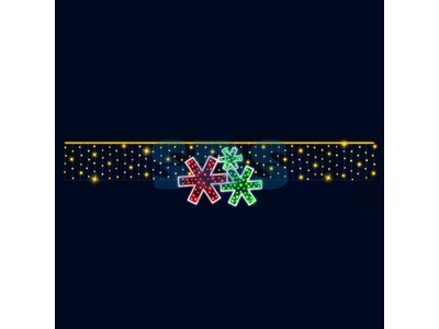 Декоративная перетяжка Снежинки 600х120 см (цвет на выбор)