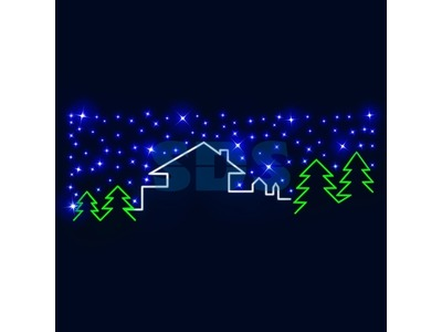 Декоративная перетяжка Домик в лесу 500х130 см (цвет на выбор)