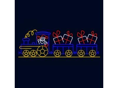 Декоративная перетяжка Рождественский поезд 500х170 см (цвет на выбор)