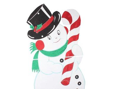 """Фигура """"Снеговик в шляпе"""" 175*90 см, цвет белый"""