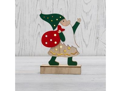 Деревянная фигурка с подсветкой «Дед Мороз» 18 см NEON-NIGHT