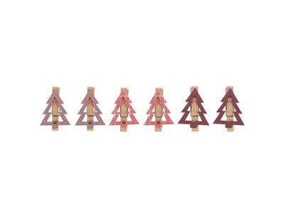 Деревянные прищепки «Елочки» 14.5x4.5x1.6 cм, 6 шт. розовые NEON-NIGHT