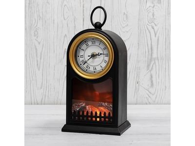 Светодиодный камин «Старинные часы» с эффектом живого огня 14,7x11,7x25 см, черный, батарейки 2хС (не в комплекте) USB NEON-NIGHT