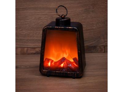 """Светодиодный камин """"Лофт"""" с эффектом живого огня 17х10х24,5 см, 3хС (не в комплекте) и USB (в комплекте)"""