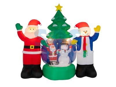 """3D фигура надувная """"Дед Мороз и Снеговик"""", диаметр шара 120 см, общий размер 210 см, с подсветкой, компрессор с адаптером 12В, IP 65 NEON-NIGHT"""